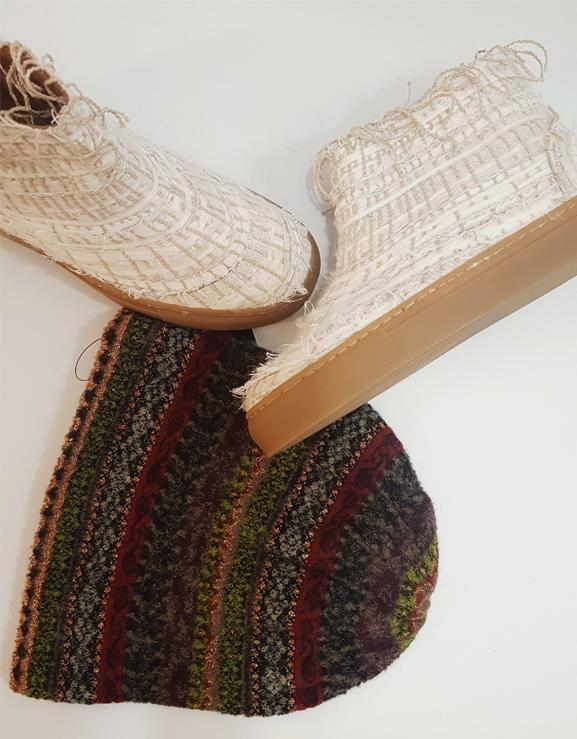 botíns e gorro-moda artesanal